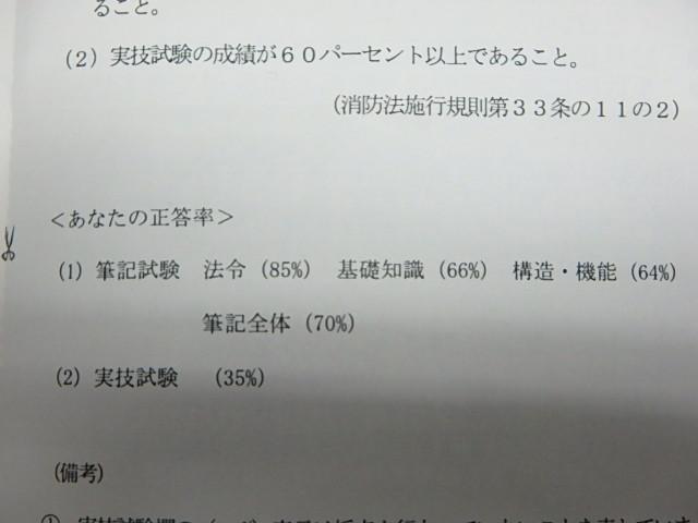 消防設備士 甲種1類 試験結果